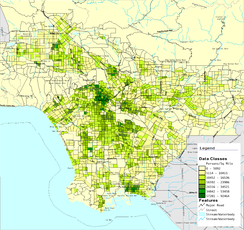Map of Los Angeles County showing population density in 2000 by census tract