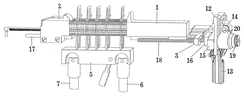 Diagram of the justification process. The composed line is locked up between the jaws (1 and 2) of the vise. The justification ram (5) then moves up to expand the spacebands to fill the space between the vise jaws.