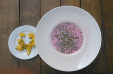The pink colour of traditional Lithuanian cold beet soup. Often eaten with a hot boiled potato, sour cream and dill.
