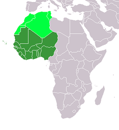 A map of Africa, showing   what is considered politically as West Africa, and   other countries not considered politically as Western Africa, but geographically part of West Africa.
