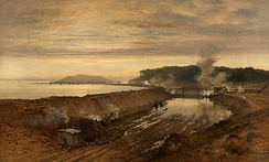 The Excavation of the Manchester Ship Canal: Eastham Cutting with Mount Manisty in the Distance (1891), by Benjamin Williams Leader, brother of the canal's engineer