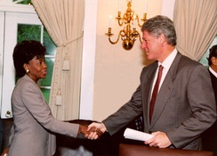 Waters greeting President Bill Clinton in 1994