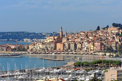 The Old Town district of Menton, which is the last town on the Côte d'Azur before the Italian border