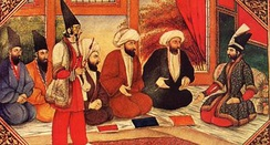 Qajar era painting, mullahs in the royal presence