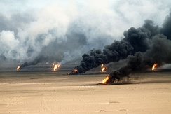 Oil well fires rage outside Kuwait City in 1991