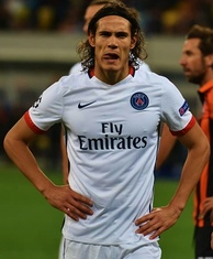 Cavani playing for PSG in the UEFA Champions League in October 2015