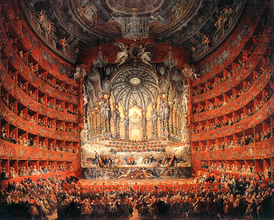 A large instrumental ensemble's performance in the lavish Teatro Argentina, as depicted by Panini (1747)