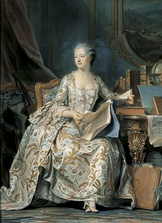 Madame de Pompadour, the mistress of Louis XV of France, made pink and blue the leading fashion colors in the Court of Versailles. She had a special pink tint created for her by the Sevres porcelain factory. This portrait by Maurice Quentin de La Tour was painted between 1748 and 1755.