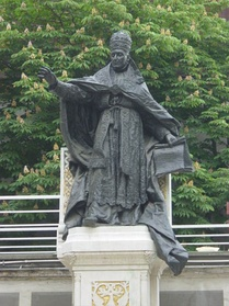 Statue of Benedict XV in the courtyard of St. Esprit Cathedral, Istanbul