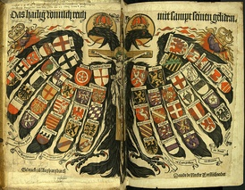 Double-headed eagle with coats of arms of individual states, the symbol of the Holy Roman Empire (painting from 1510)