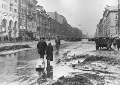 "In besieged Leningrad. ""Hitler ordered that Moscow and Leningrad were to be razed to the ground; their inhabitants were to be annihilated or driven out by starvation. These intentions were part of the 'General Plan East'.""  – The Oxford Companion to World War II.[141]"