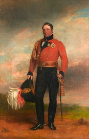 Painting shows a man in a red military coat with black trousers. He holds a bicorne hat with an elaborate plume.