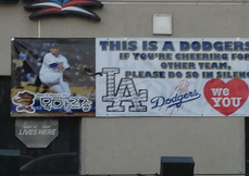 A banner supporting Ryu hangs in Koreatown in Los Angeles in July 2013.