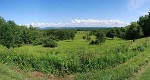 View of the battlefield from the visitor center of Saratoga National Historic Park