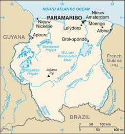 A map of Suriname