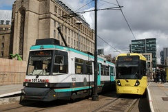Brand transition: AnsaldoBreda T-68 & Bombardier M5000 trams in old and new livery in 2011