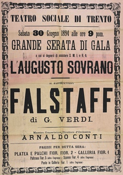 """Falstaff"" in a theatre playbill, preserved in the Municipal Library of Trento"