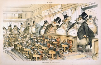 """The Bosses of the Senate"", a cartoon by Joseph Keppler depicting corporate interests–from steel, copper, oil, iron, sugar, tin, and coal to paper bags, envelopes and salt–as giant money bags looming over the tiny senators at their desks in the Chamber of the United States Senate[40]"