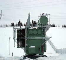 Transformer at the Limestone Generating Station in Manitoba, Canada