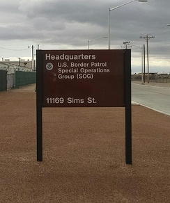 Sign for U.S. Border Patrol Special Operations Group on Biggs Army Airfield, Fort Bliss, El Paso, Texas