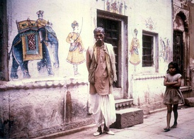 Wall paintings, Varanasi, India, 1974.