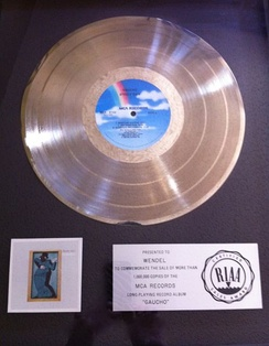 "Platinum record awarded to Gaucho drum machine ""Wendel"" invented by recording engineer Roger Nichols"