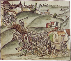 A scene depicting the Old Zürich War in 1443 (1514, illustration in Federal Chronicle by Werner Schodoler)