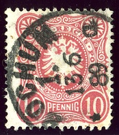 Stamp cancelled at BOCHUM 1 in 1889. Bochum post-office was in the Westphalia province of Prussia before 1868