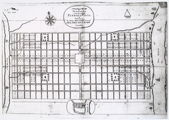A Portraiture of the City of Philadelphia, by Thomas Holme – the first map of Philadelphia, ca. 1683