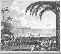 King of Dahomey cuts off 127 heads to complete the ornament of his wall. 1793