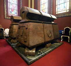 Imperial sarcophagi of the Solomonic dynasty King Haile Selassie I and his wife at the Holy Trinity Cathedral