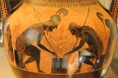 Amphora by Exekias, Achilles and Ajax engaged in a board game, c.540-530 BC, Vatican Museums, Vatican City.