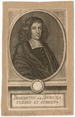 "An unfavorable engraving depiction of philosopher Spinoza, captioned in Latin, ""A Jew and an Atheist""."