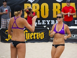 US women's team has cited several advantages to bikini uniforms, such as comfort while playing on sand during hot weather.[72] Photo shows US national team players (Jennifer Fopma (left) and Brooke Sweat) in their uniforms.