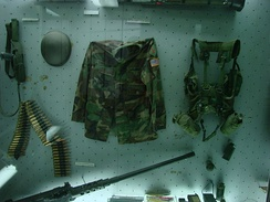 Captured equipment from 1st ID soldier on display in Belgrade museum