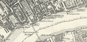 Map showing a riverside road and bridges
