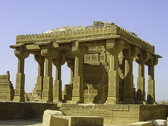 The 15th–18th Century Chaukhandi tombs are located 29 km (18 mi) east of Karachi.