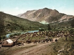 An 1898 photochrom of a round-up in Colorado
