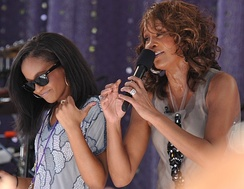 "Houston performing ""My Love Is Your Love"" with her daughter Bobbi Kristina Brown on Good Morning America, September 2, 2009"