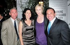 (l-r) Governor appointee Don Norte, Dr. Lara Embry, Jane Lynch, and Norte's husband, gay activist Kevin Norte, at Autum P-FLAG 2010's Charitable Event at The London Hotel, West Hollywood.