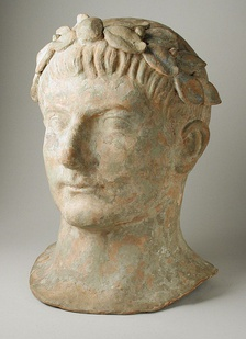 Terracotta head of a Man Wearing a Laurel-Wreath, 2nd century BC