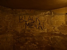 The basement of Helvete, showing graffiti from the early 1990s