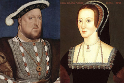 Elizabeth's parents, Henry VIII and Anne Boleyn. Anne was executed within three years of Elizabeth's birth.