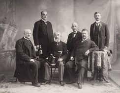 Seth Low (seated at right) with other members of the American delegation to the International Peace Conference, 1899