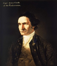 "Severe-looking man, clean-shaven and with a high forehead, wearing an open coat, white shirt and embroidered waistcoat. A legend in the top left corner identifies him as ""Capt. James Cook of the Endeavor""."