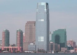 Exchange Place as seen from Liberty State Park, in Jersey City. At 781 feet (238 m), the Goldman Sachs Tower is New Jersey's tallest building.[34]