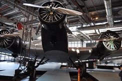 Junkers Ju 52/3m (D-AZAW) is on display at the Deutsches Technikmuseum in Berlin