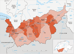 Districts in Valais