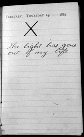 "Roosevelt's diary entry ""The light has gone out of my life"""