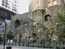 The surviving fragment of the 3rd-century London Wall near Tower Hill tube station on Tower Hill